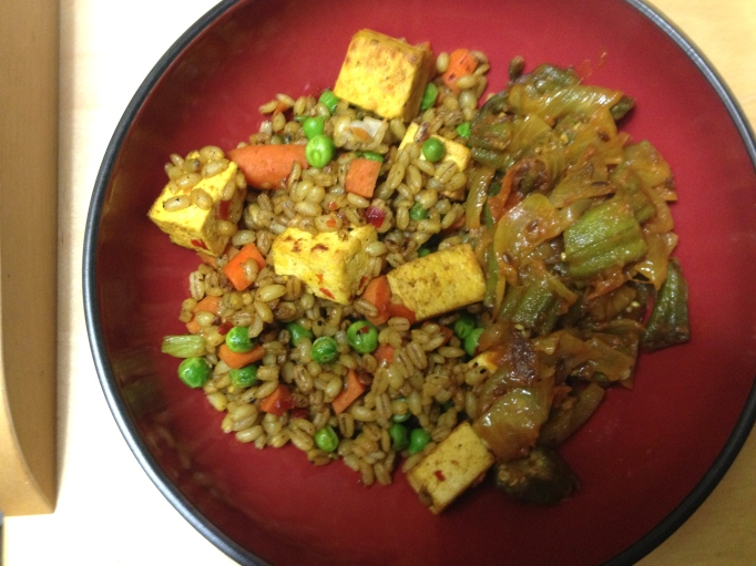 curried fried rice style barley with tofu vegan