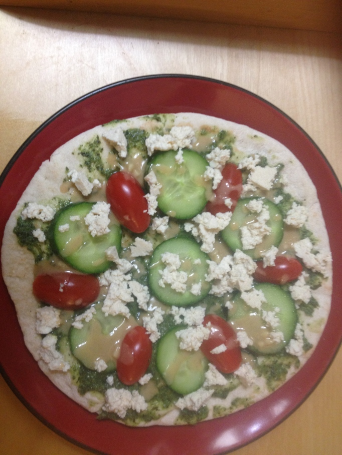 vegan cucumber chutney pesto flatbread with tofu