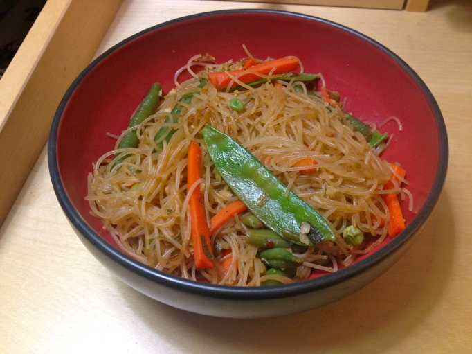 hot and sour vegan curry rice noodles