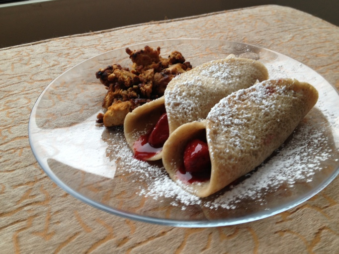 vegan strawberry flaxseed crepes